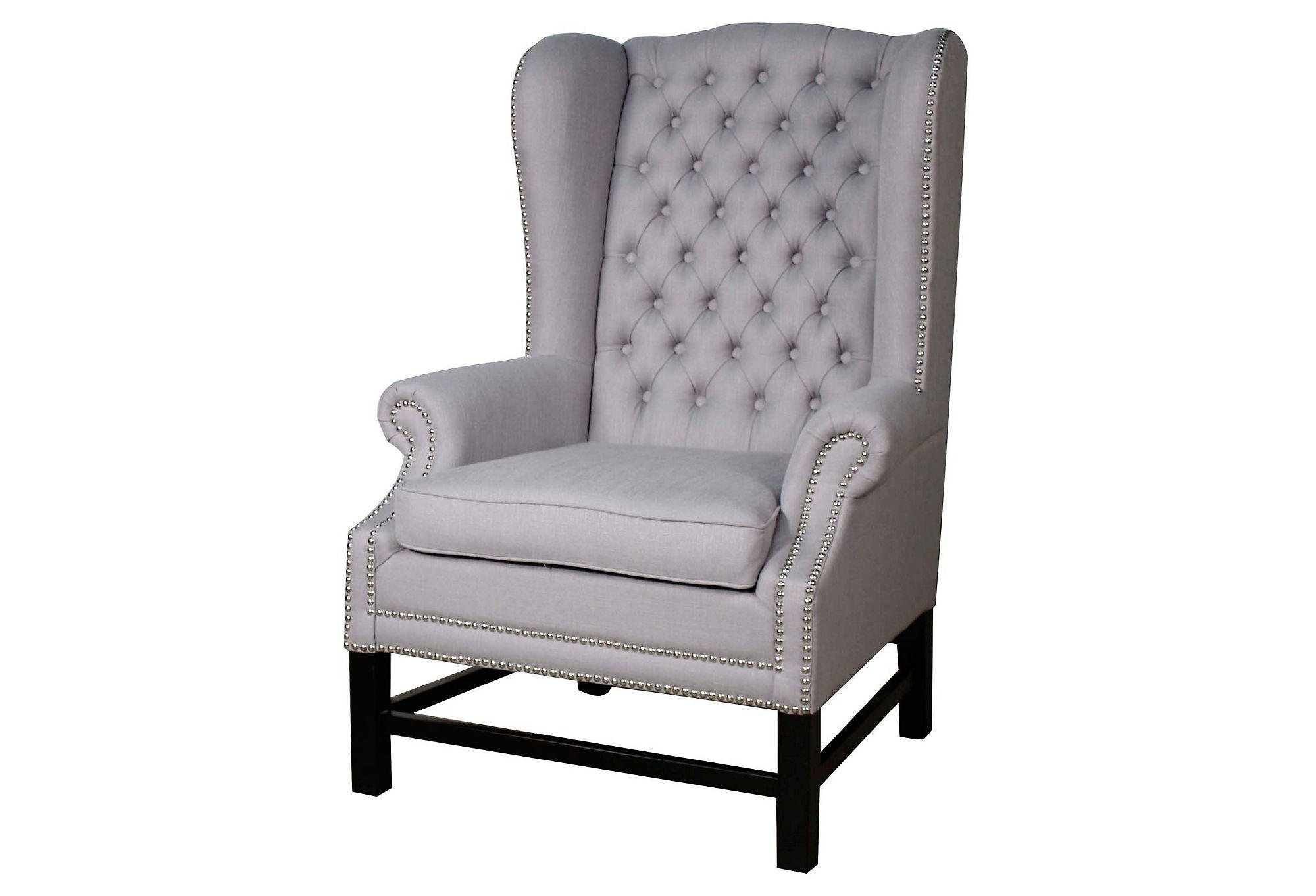 Graham tufted wingback chair blue from one kings lane