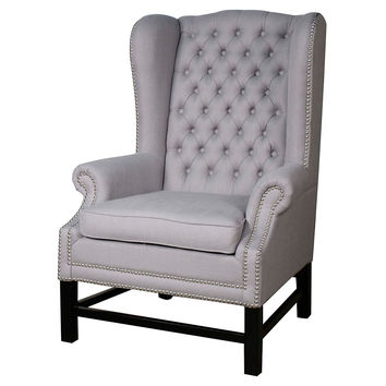 Graham Tufted Wingback Chair, Blue, Accent & Occasional Chairs
