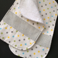 Burp Cloth Set, Polkadots, Set of Two, Flannel Burp Cloth, Terrycloth Burp Rag, Burpcloths