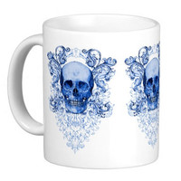 Blue Willow Skull Coffee Mug