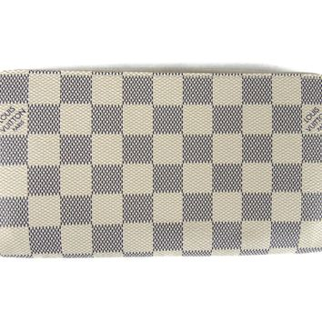 LOUIS VUITTON Long Zippy Wallet Purse N60019 Damier Azur Damier Azur