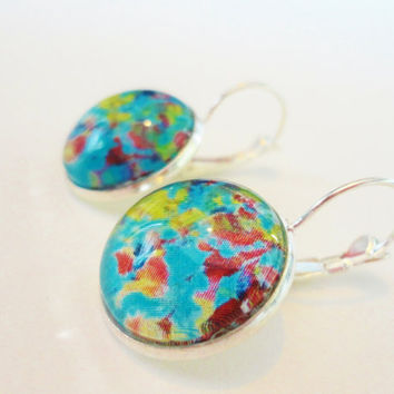 A LITTLE OF THIS  - Beautiful 18mm Round Tray Glass Dome Silver Plated French-Clasp Lever Back Original Fine Art Painting Earrings
