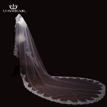 Hot sale Real Photos 3m brand Ivory Cathedral Length Lace Mantilla Crochet Bridal Veil Headdress With Comb Wedding Accessories