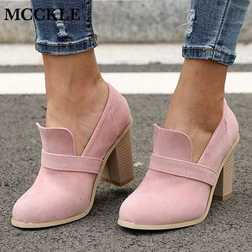 MCCKLE Women High Heels Retro Casual Slip On Shoes For Femal Shallow Patchwork Flock Wood Heel Pumps Elegant Party Wedding Shoe