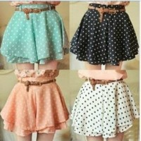 042921 Pleated Polka Dot Chiffon Divided Skirt Mini Dress Shorts culottes w/Belt | fashion2