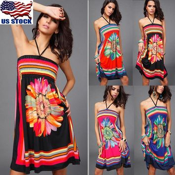 Women Boho Floral Strapless Summer Short Mini Dress Sundress Loose Tops Sundress