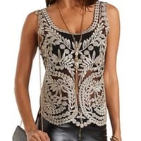 Gold-Embroidered Mesh Tank Top by Charlotte Russe - Black Combo
