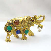 Vintage Jeweled Elephant Brooch Three Dimensional Cabochons Seed Pearls Figural Stands
