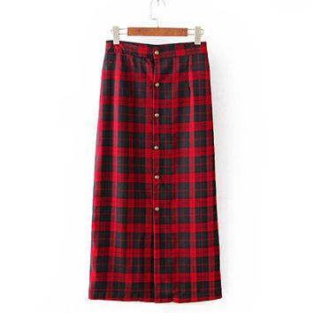 Winter Black and Red Plaid Cotton Maxi Skirts