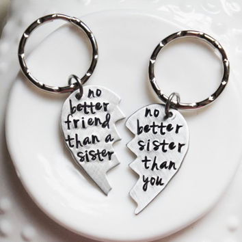 Sisters Keychain Set Hearts Double Gift for Sis Best Friend Personalized Going Away Key Chain