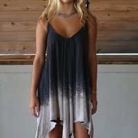 Windsor Love Charcoal & Taupe Tie Dye Handkerchief Dress