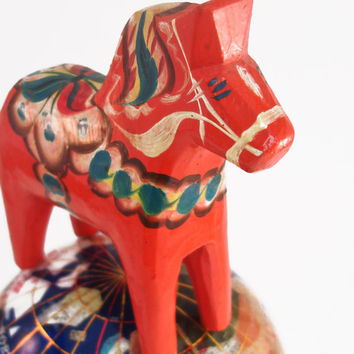 Vintage Dala Horse Nils Olsson Grannas G A Red Orange Wooden Swedish Folk Art Sweden Wood Home Decor Dalahemslojd Painted Carved Mid-century