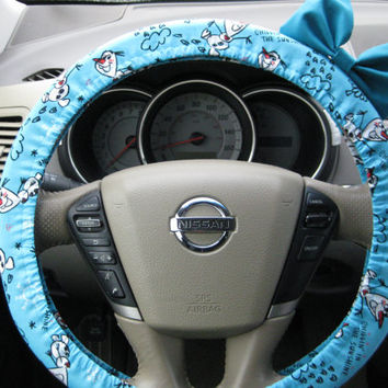 Steering Wheel Cover Bow, Disney's Frozen Inspired OLAF Steering Wheel Cover with Teal Bow BF11140