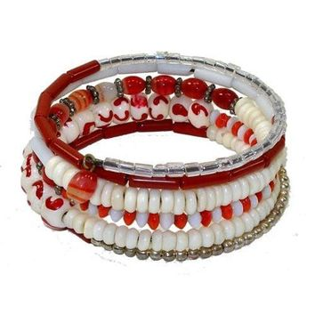 Five Turn Bead and Bone Bracelet - Reds - CFM