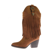 Madden Girl Womens Ranglee Microsuede Fringe Cowboy, Western Boots