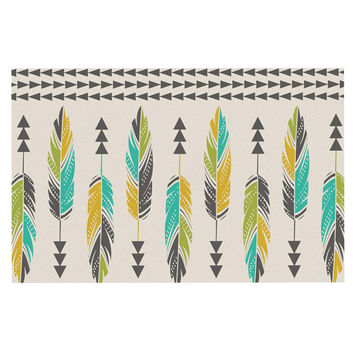 "Amanda Lane ""Painted Feathers Cream"" Tan Tribal Decorative Door Mat"