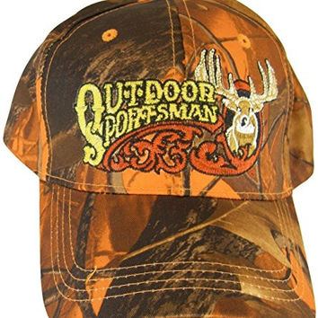 Outdoor Sportsman Orange Camo Adjustable Baseball Hat Cap with Deer and Antlers