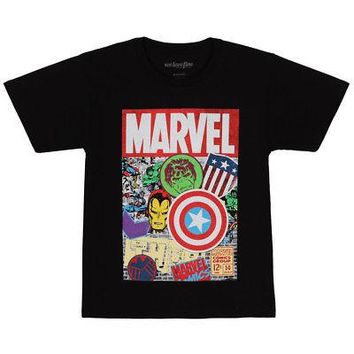 Avengers Hero Stickers Marvel Comics Licensed Kid's Youth T-Shirt - Black