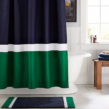 Color Block Shower Curtain, Navy/Green