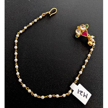 Traditional uncut kundan stone clip on nose ring with pearl chain