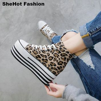 Women Casual High/Low Leopard Canvas Sneakers