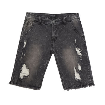 JN213 Distressed Stone Wash Denim Shorts - Black