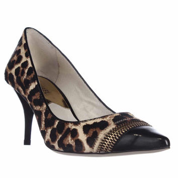 MICHAEL Michael Kors Haya Zip Toe Cap Pointed-Toe Pumps - Cheetah Natural