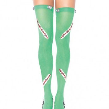 Green Frankenstein Thigh Highs w/ Latex Stitch & Bolts