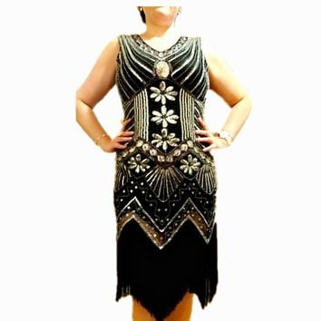 2017 1920s Great Gatsby Dress Sequin Beading V Neck Tassel Flapper Dress Black Party Long Women's Dresses