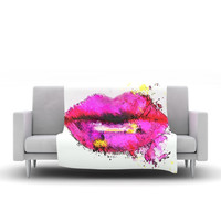 "Oriana Cordero ""Kiss Me"" Pink Lips Fleece Blanket, 60"" x 50"" - Outlet Item"