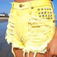 Any Size High Waisted Yellow Denim Studded Shorts