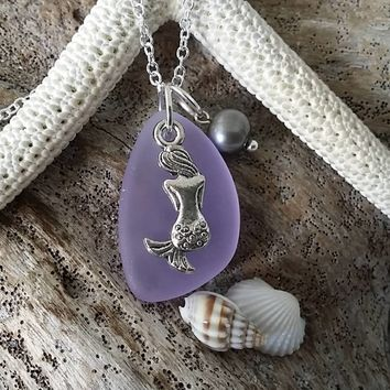 "Handmade in Hawaii, ""Magical Color Changing"" purple sea glass necklace, Mermaid charm ,Freshwater pearl"