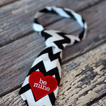 Valentines Day Little Guy Tie - Conversation Heart Inspired Embroidered Chevron Tie - Infant through 8 years - Pre-Tied with Velcro Closure
