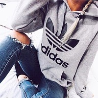 Black Adidas Print Women's Long Sleeve Hoodies Sweater