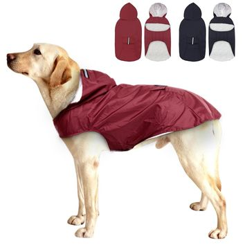 Large Dog Raincoat Reflective Dog Rain Jacket Outdoor Waterproof Clothes with Leash Hole Pouch For Medium Large Dogs Pet