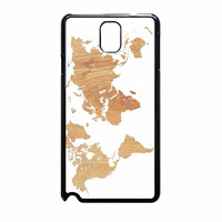 World Map On Wood Texture Print White Samsung Galaxy Note 3 Case