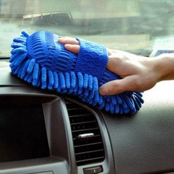 Car Hand Soft Towel Microfiber Chenille Washing Gloves Coral Fleece Gloves Auto = 1946376836