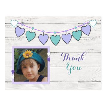 Thank you purple and green bunting photo postcard