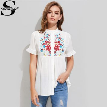 Sheinside Embroidery Crinkle Shirt Yoke Frilled Sleeve White Blouse 2017 Women Cute Summer Tops Casual Button Up Tunic Blouse