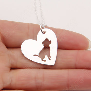 1pcs PitBull Necklace Pendant Pit Bull Heart Pendant Dog Memorial Pet Necklaces & Pendants Women Animal Charms Christmas Gift