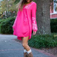 Peasantly Chic Dress, Coral
