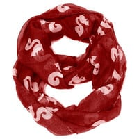 Red Infinity Scarf - Squirrel Print