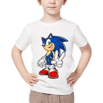 Children's cartoon printing sonic hedgehog funny T-shirt baby boy girl summer cotton shirt children's casual wear