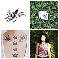 Swallow  temporary tattoo Set of 2 by Tattify on Etsy