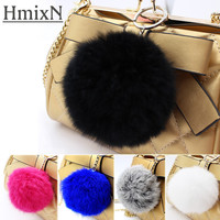 2017 new genuine leather pompom Keychain Fur Pom Pom KeyChain real Rabbit Hair Bulb Bag Fur Ball Pendant cute for women key ring