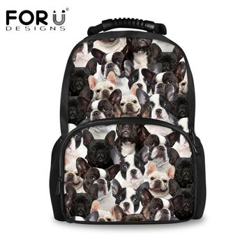 FORUDESIGNS Cute Animal Pug Dog Puzzle Felt Backpacks for Men Mochilas Designer Teens Boys School Backpack Travel Laptop Bagpack