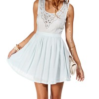 sale-Light Blue Laser Cutout Dress