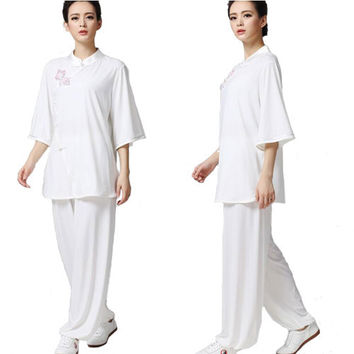 High Quality  Crystal Flax Martial Arts Suit Taichi Clothing Bevel Lappet Short- Sleeved Suit Morining Sleeve Dress