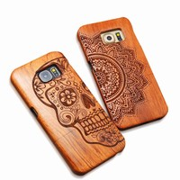 Natural Wood Emboss Case For iPhone 5 5s SE 6 6s Plus Samsung Galaxy S6 S7 edge Plus S5 S4 S3 Note 7 5 4 3 Carving Wooden Funda