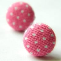 Button Earrings Polka Dots PinkWhite Rockabilly by PushTheButtons